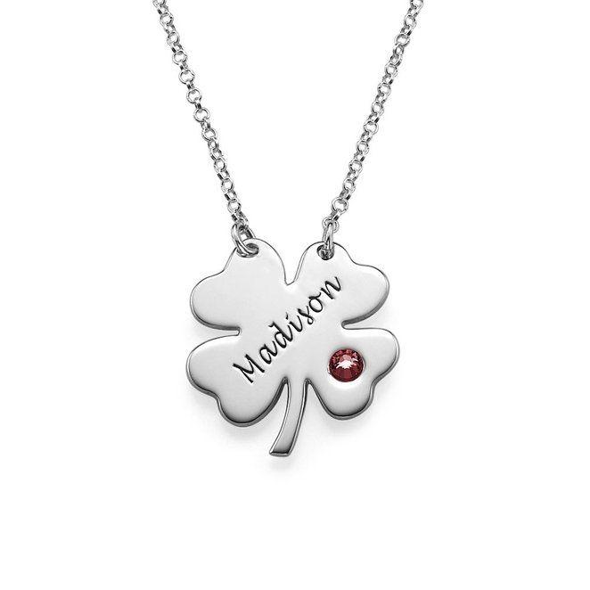 Collier de pierre de naissance trèfle à quatre feuilles nouveauté Simple Long colliers bijoux sur mesure tout nom YP2756