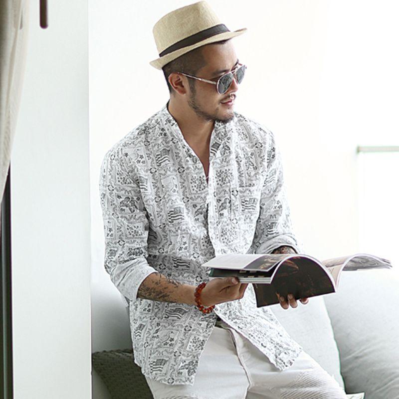 Summer Men New Style Stand Collar White Printed Long Sleeve Shirt Metrosexual Men Linen Cotton Slim European Style Shirt S850