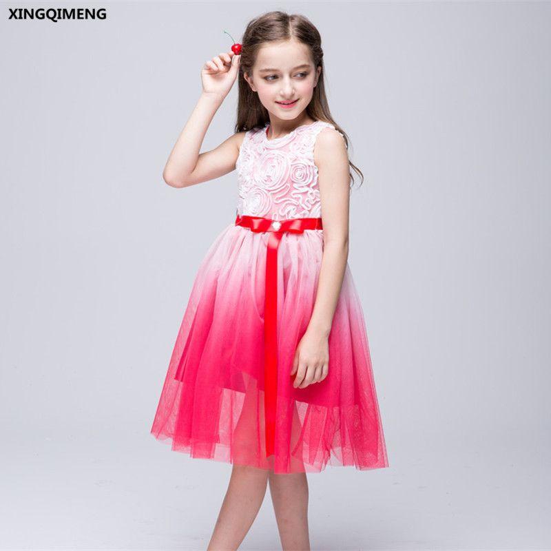 En Stock Rouge Fleur Fille Robes Dip Dye Première Sainte Communion Robes pour Filles Arc Petites Dames Robe Élégante robe daminha