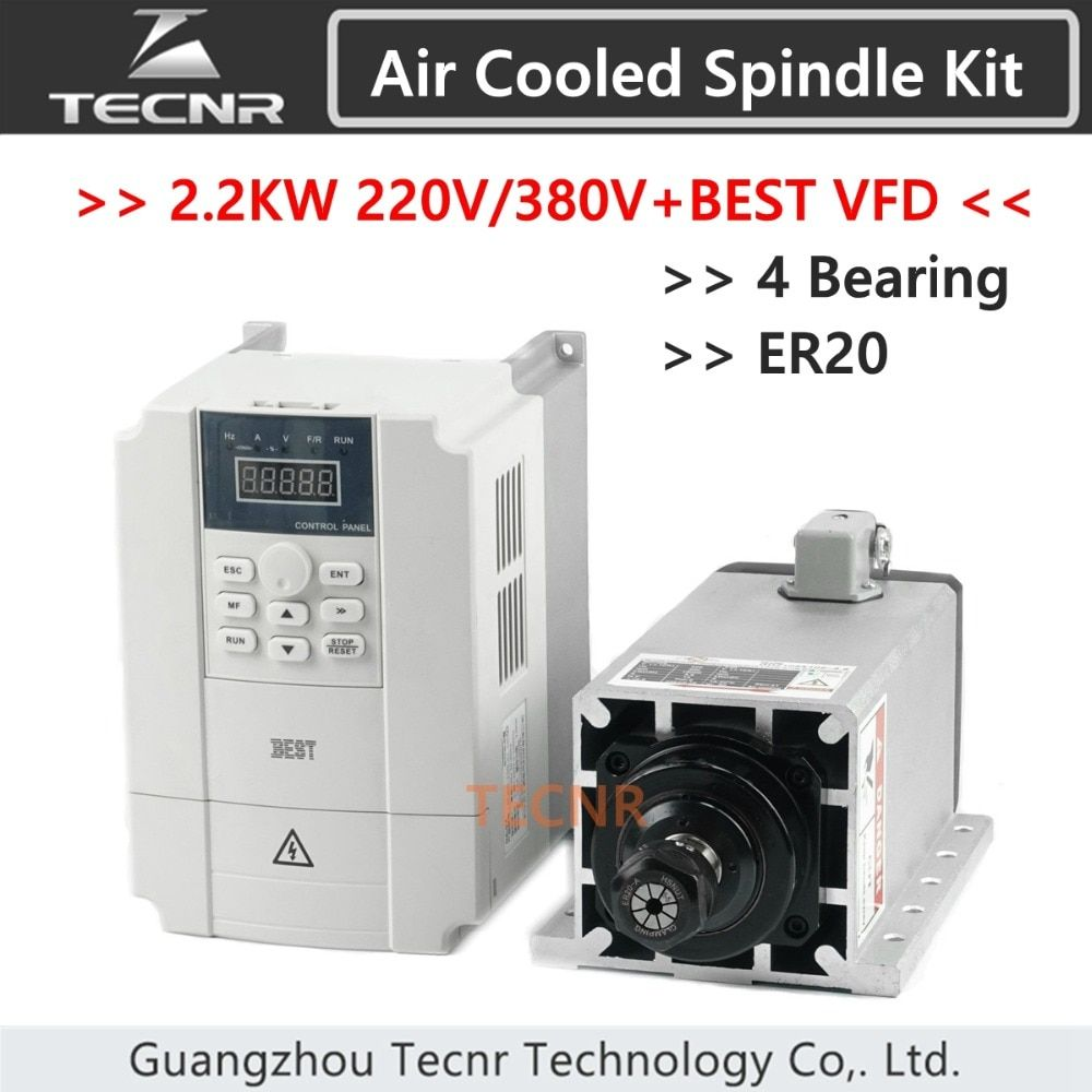 2.2kw 220V 380V air cooled spindle motor Ceramic 4 Bearing ER20 and BEST 2.2KW VFD inverter