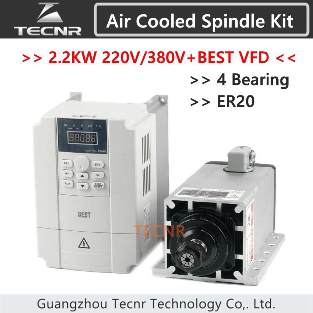 2.2kw 220V 380V air cooled spindle motor Ceramic 4 Bearing ER20 and BEST 2.2KW VFD inverter