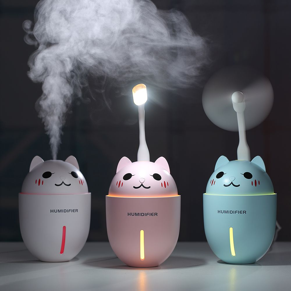 3 en 1 320 ML USB humidificateur d'air à ultrasons Cool-brume Adorable animal de compagnie Mini humidificateur avec lumière LED Mini ventilateur USB