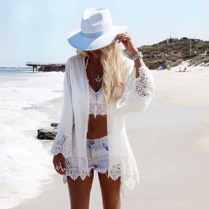Plage Lacets Mousseline Couverture Ups Manteau Blouse Saida De Praia Sexy Top Mince Lâche Blanc Cardigan Robe Maillot De bain Bikini cover Ups