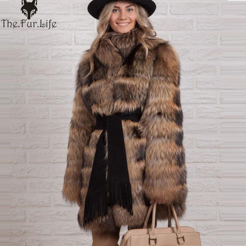 Big Collar Real Raccoon Fur Coats Thick Warm Winter Fur Jackets Whole Skin Natural Fur