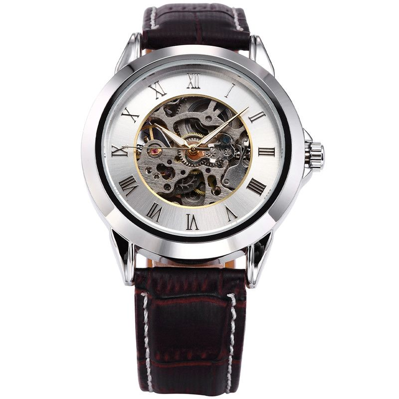 SHENHUA Mechanical Skeleton Black Golden Case Male Clock Watch Men Montre Homme Relogio Masculino