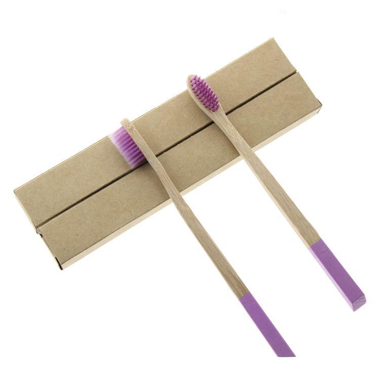 Certification FDA 2 pièces/ensemble 18.5 cm femmes filles poignée plate bambou naturel meilleure brosse à dents brosse à dents