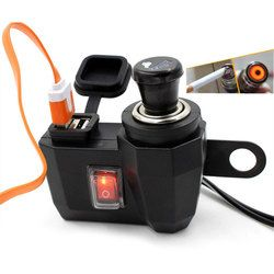 Nuevo cargador de teléfono Impermeable Motocicleta 12 V Encendedor de cigarrillos + 5 V USB Puerto de Alimentación Adaptador de Enchufe Del Cargador