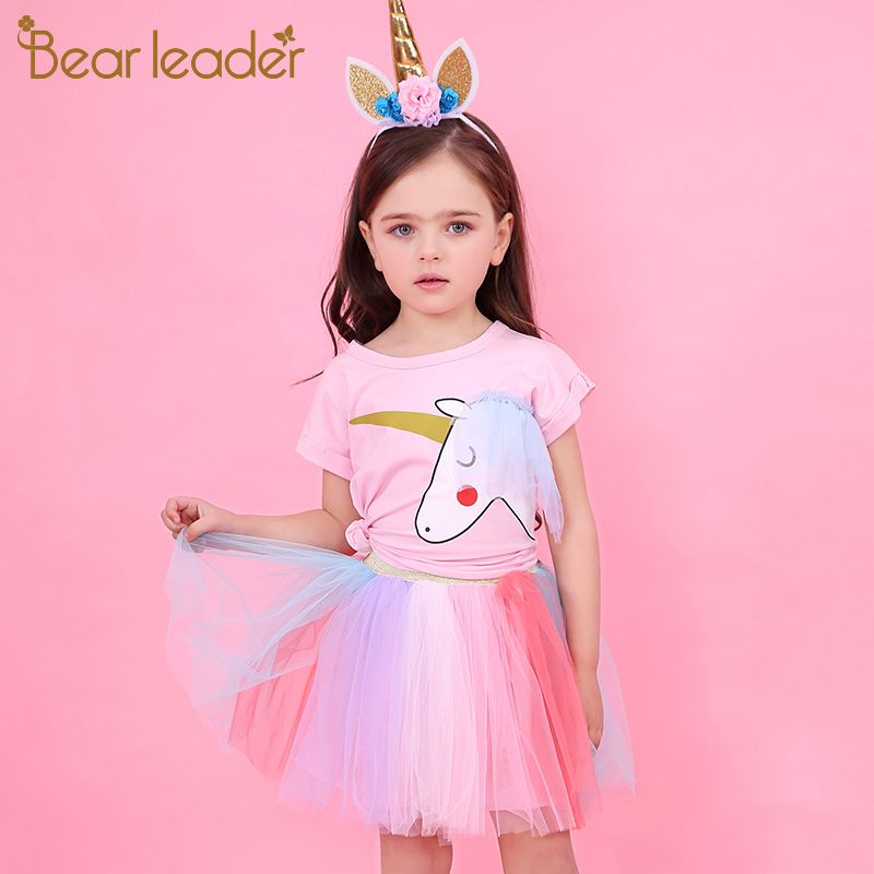 Bear Leader Girl Dress 2018 New Summer Casual Style Cartoon Unicorn T-Shirts+Colorful Veil Dress 2Pcs for Girls Clothes 2-6Years