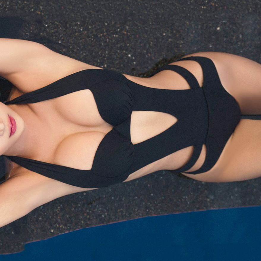 2018 Sexy Black Halter Cut Out Bandage Trikini Swim Bathing Suit Monokini Push Up Brazilian Swimwear Women One Piece Swimsuit