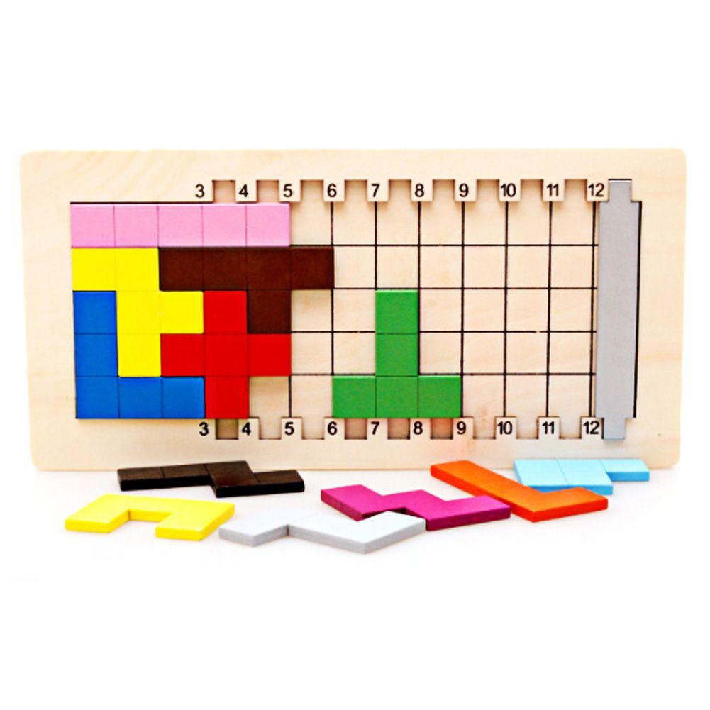 Coloré En Bois Tangram Tetris Jeu Casse-tête Puzzle Jouets Bébé Préscolaire Magination Début Éducatifs Enfants Jouet Enfants Cadeau