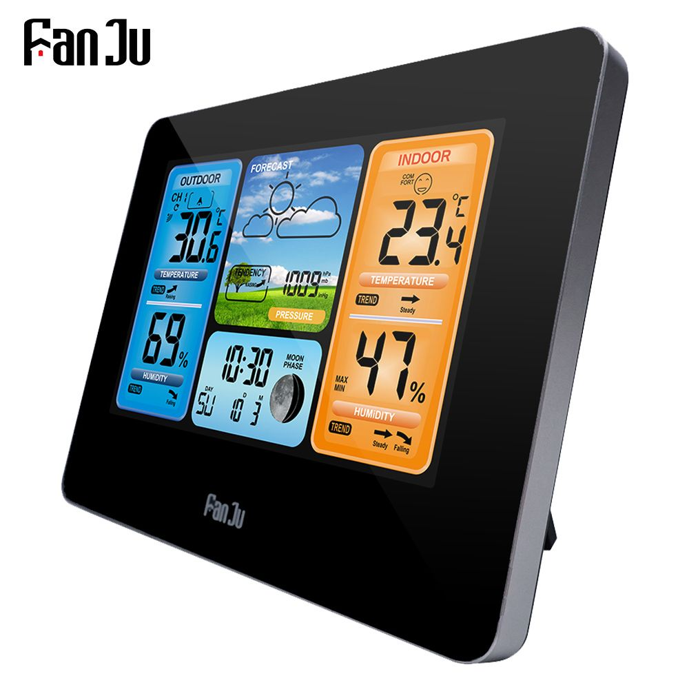 FanJu FJ3373B LCD Wireless Weather Station Alarm Clock Digital Thermometer Hygrometer Barometer Forecast Daily Alarm Wall Type