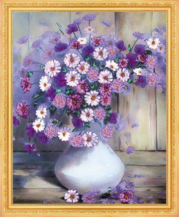 Couture, BRICOLAGE Ruban point de Croix Ensembles pour Broderie kit, Vase fleur amour ruban Point de Croix Compté Peinture mur de décor de maison