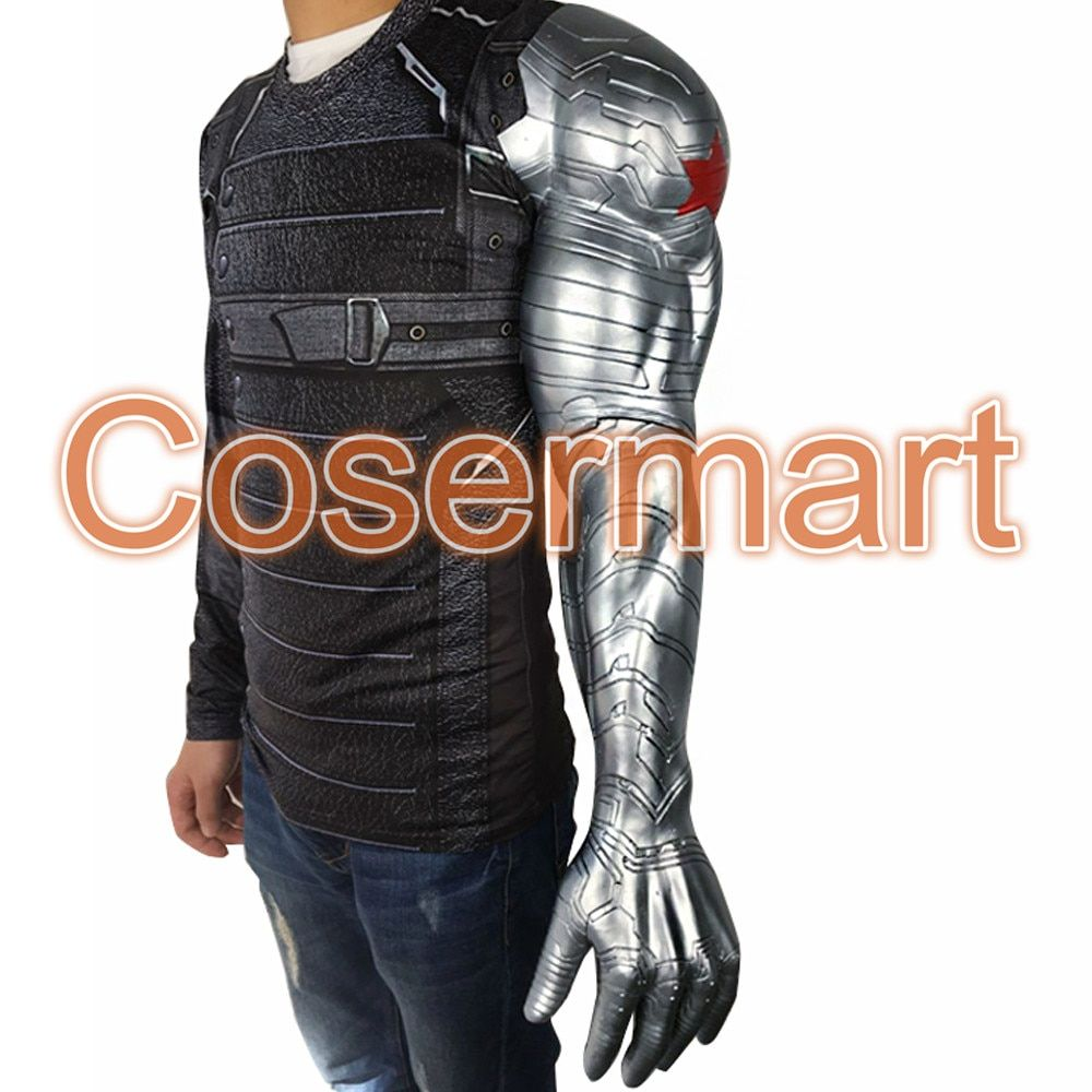 2016 New Winter Soldier Arm Captain America 3  Bucky Barnes Arm Armour Cosplay Avengers High Level Latex Man Hot Sale