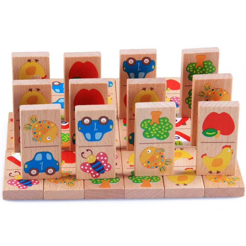 28pcs Baby Wooden Domino Block Toys Cartoon Garden Animal Vehicle Fruit Domino Blocks Toys Building Blocks Educational Matching