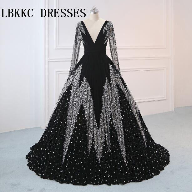 Robe De Soiree Langen Ärmeln Schwarz Abendkleider Samt V-ausschnitt Bodenlangen Ballkleid Vestido De Festa Longo