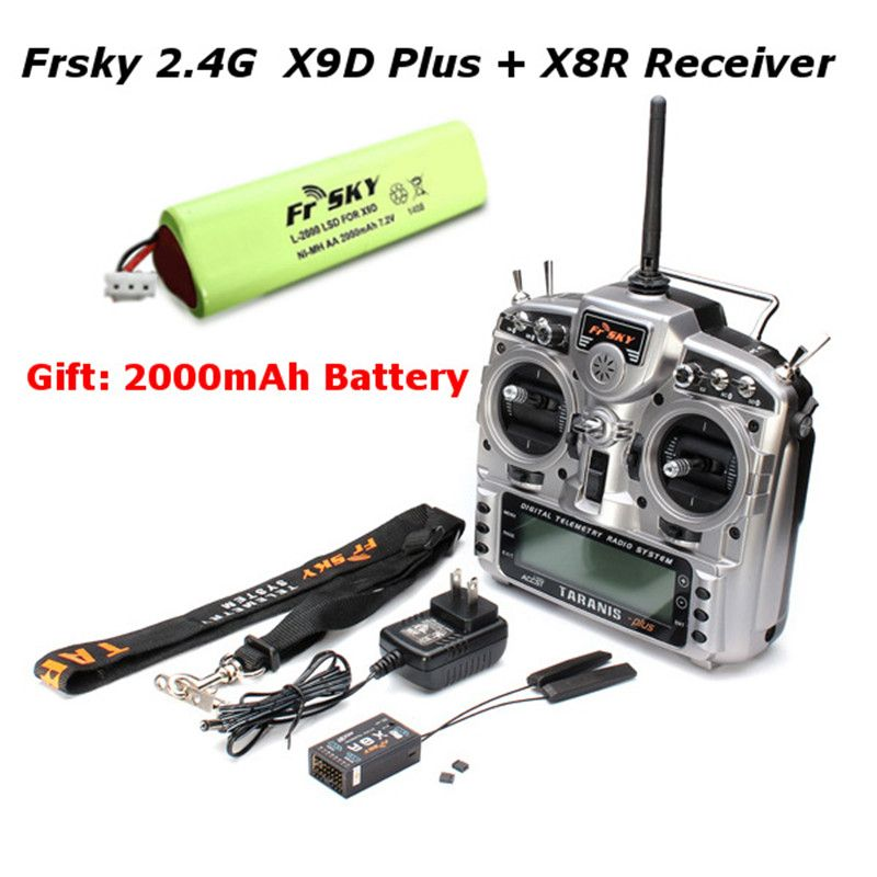 Free Shipping FrSky X9D Plus Transmitter 2.4G 16CH ACCST Taranis with x8r reciever battery For RC Models Multicopter Parts