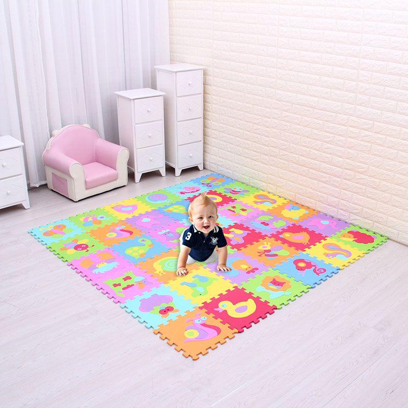 Cartoon Tier Muster Teppich EVA Schaum Puzzle Matten Kinder Boden Puzzles Spielen Matte Für Kinder Baby Spielen Gym Krabbeln Matten