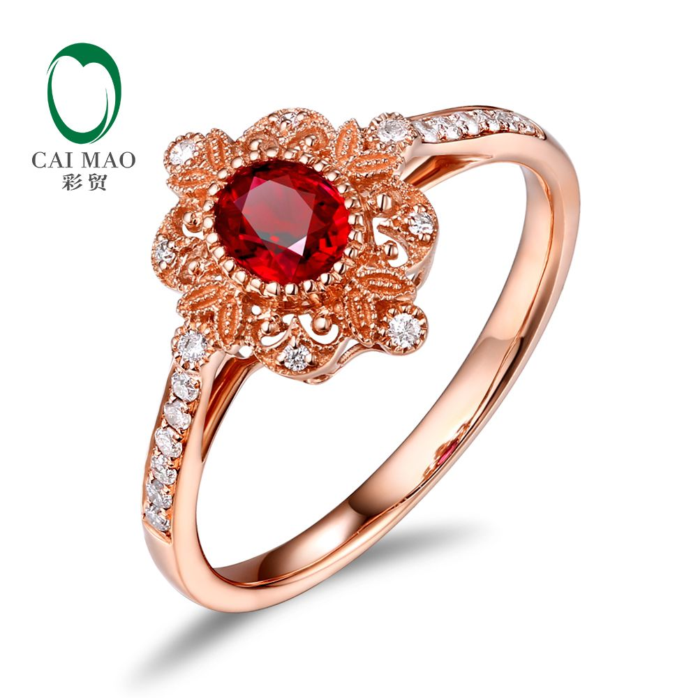 Caimai Romantic 14K Rose Gold 0.59ct Natural Red Ruby Milgrain Diamond Engagement Ring