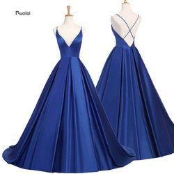 Bleu Royal Sexy Satin Robes De Soirée 2018 Longue Une ligne De Bal robes de Soirée Robes de Soirée Robe Dos Ouvert Robe De Soirée