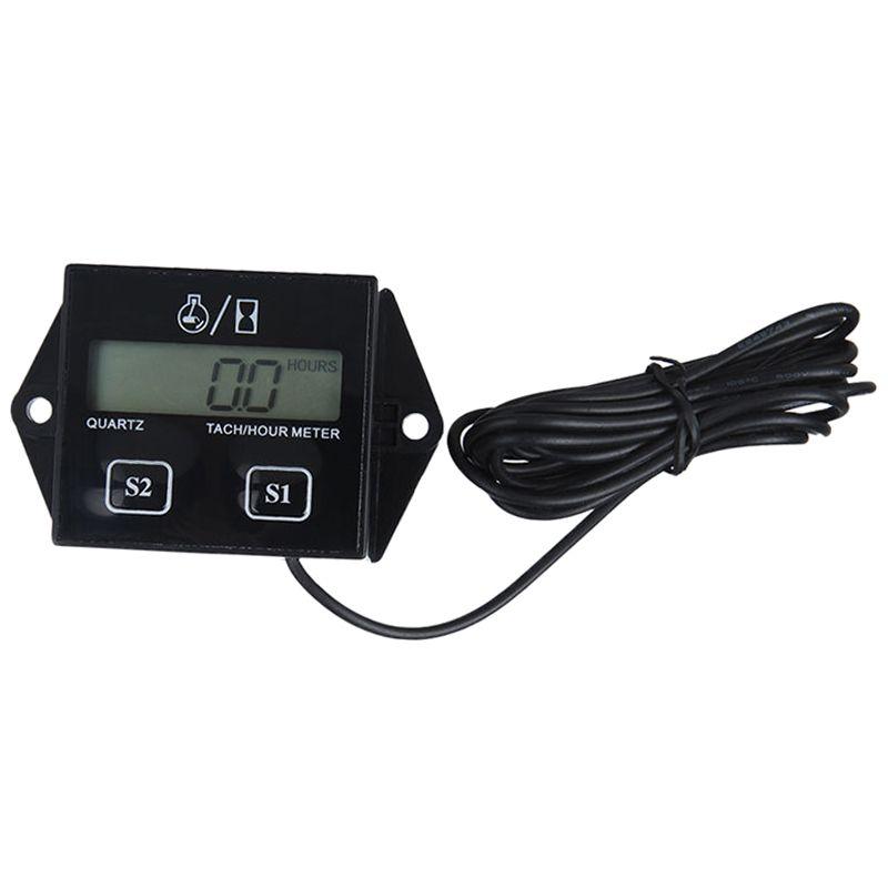 Digital LCD engine hour meter tachometer Tach gauge for race bikes Black