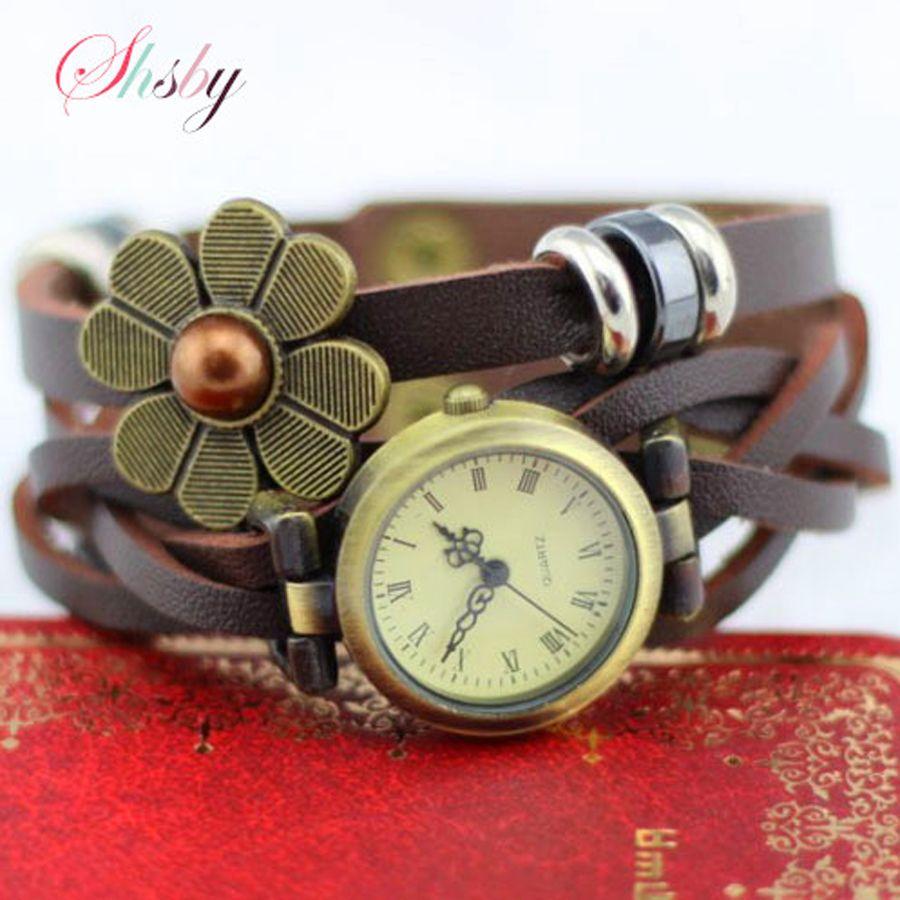 Shsby Nuevas mujeres relojes correa de cuero vintage flor del goteo de la pulsera vestido de las mujeres de brown del reloj mujeres reloj de pulsera