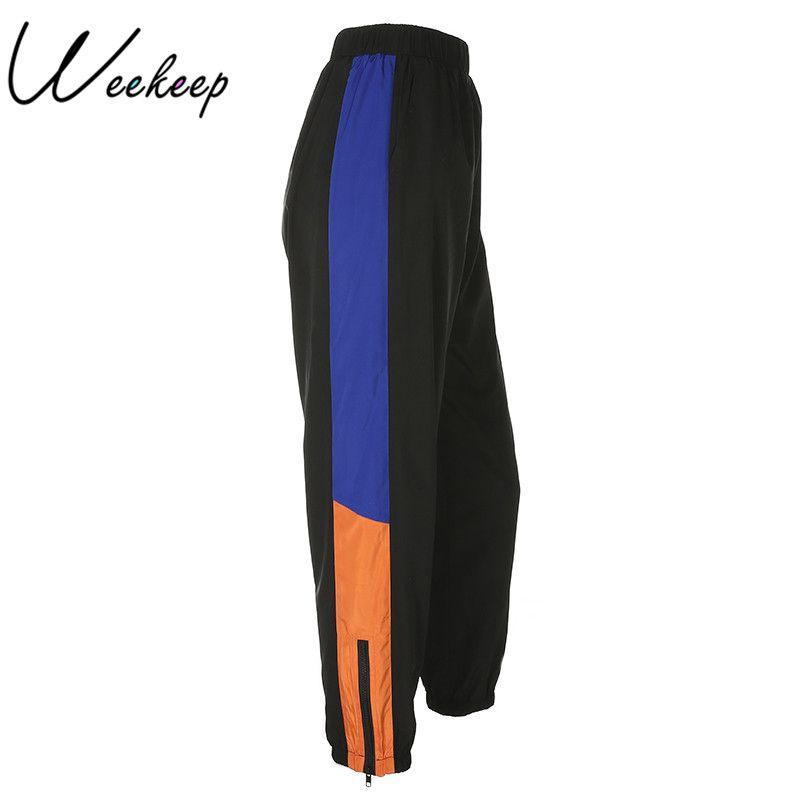 Weekeep 2018 Patchwork Elastic Waist Sweatpants Women Fashion Black Pencil Pants Spring Streetwear <font><b>pantalon</b></font> femme Trousers