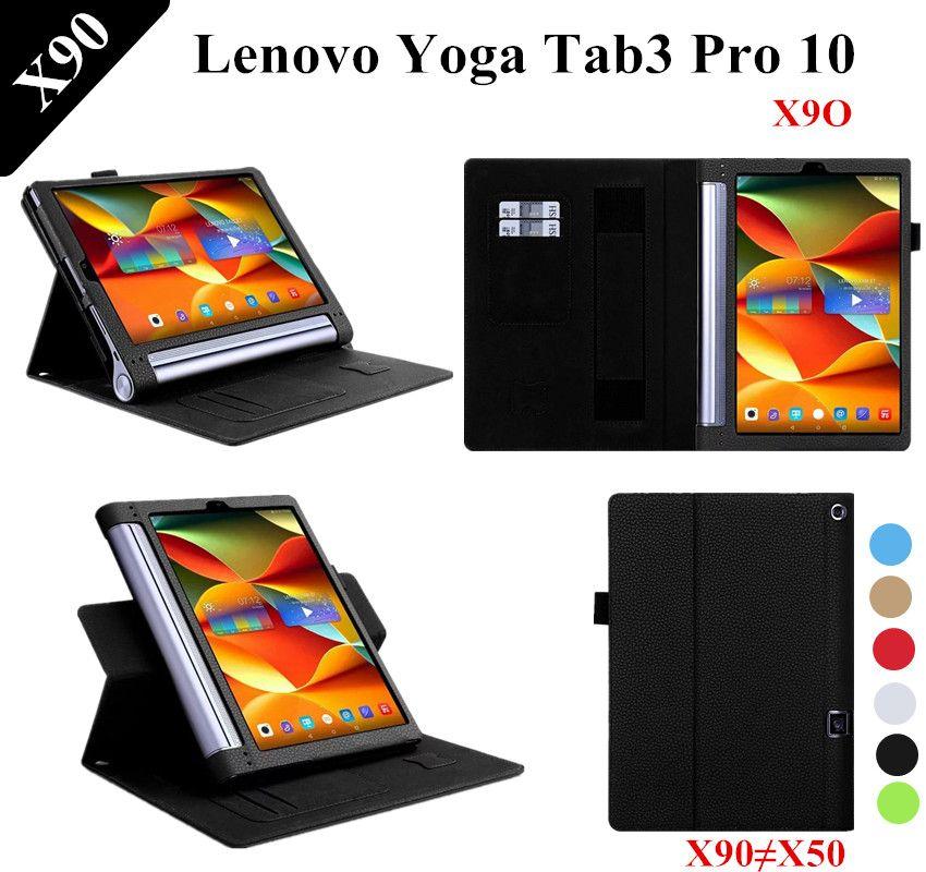 Litchi Motif DE YOGA Tab 3 plus Stand PU Étui En Cuir Pour Lenovo YOGA Tab 3 Pro 10X90 X90F x90L Couverture En Cuir YT-X703L X703F