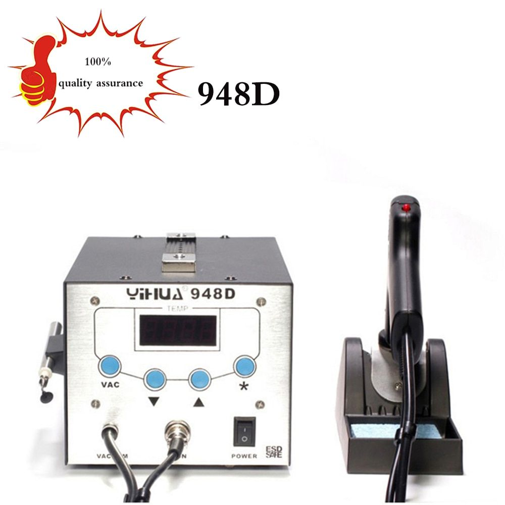 free deliveYIHUA 948D Iron Soldering Station High Frequency Suction Gun With Pen 3 in 1 BGA Rework Station