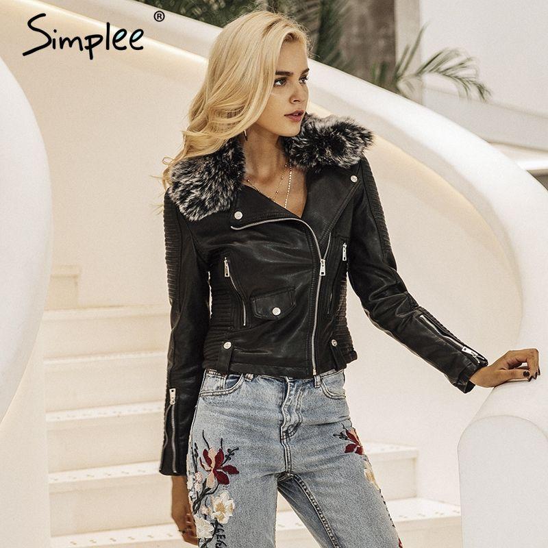 Simplee Fashion fur collar basic jacket coat outerwear coats Streetwear black faux leather coat female PU leather jacket women