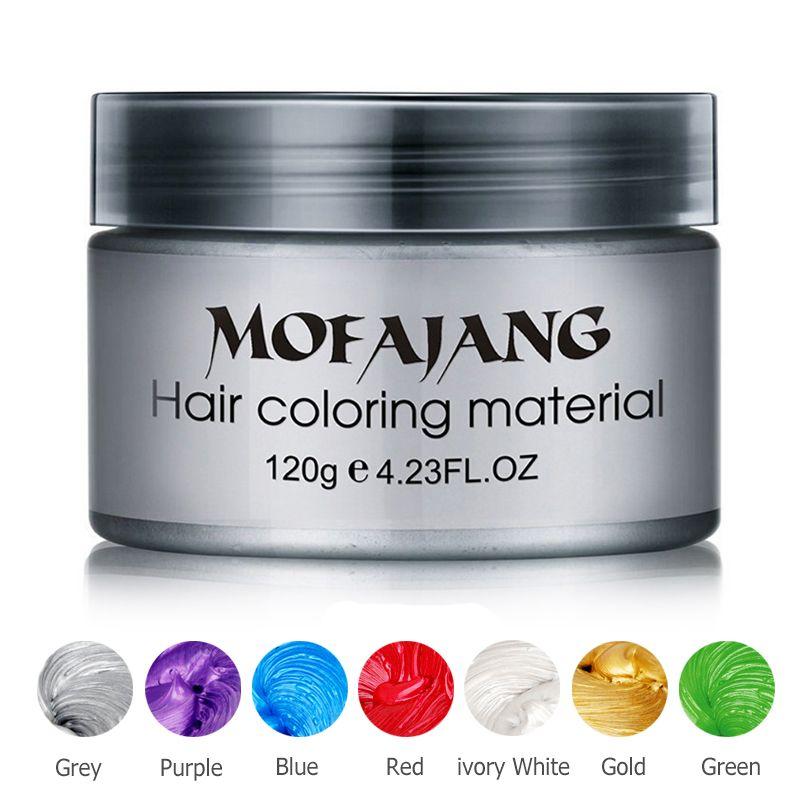 Couleur cire pour cheveux Style Pommade Argent Grand-Mère Gris teinture temporaire pour cheveux Jetable Mode Moulage Coloration Boue Crème livraison directe