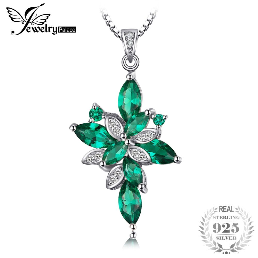 JewelryPalace Flower Shape 2.6ct  Green Created Emerald 925 Sterling Silver Pendant Necklace 18 Inches for Women