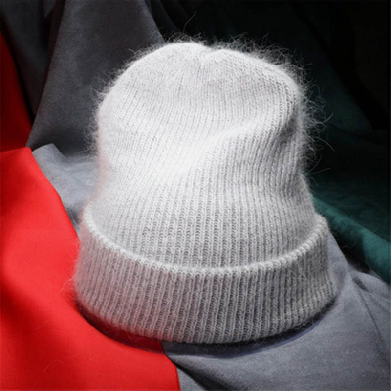 Women Autumn Winter Warm Rabbit Fur Knitted Beanies Thick Double Layer Wool Skullies Female Hat