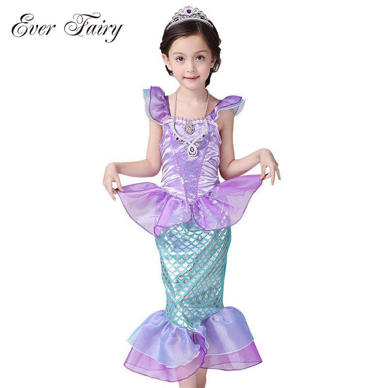 EVER FAIRY <font><b>Children</b></font> Baby Girl Clothes Little Mermaid Fancy Kids Girls Mermaid Dresses Princess Ariel Cosplay Halloween Costume