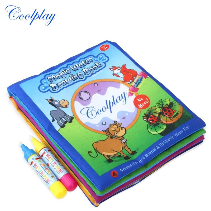 Animals Water Drawing Book & 2 Magic Pen Water Coloring Board Doodle Mat For Kids Educational Learning toys 21*17cm )