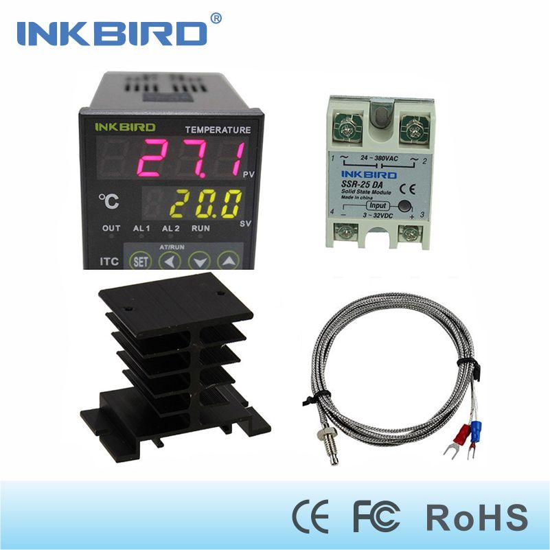 Inkbird AC 100 - 220V ITC-100VH Digital PID Thermostat Temperature Controller, DA 25A SSR, Black Heat Sink, K Thermocouple