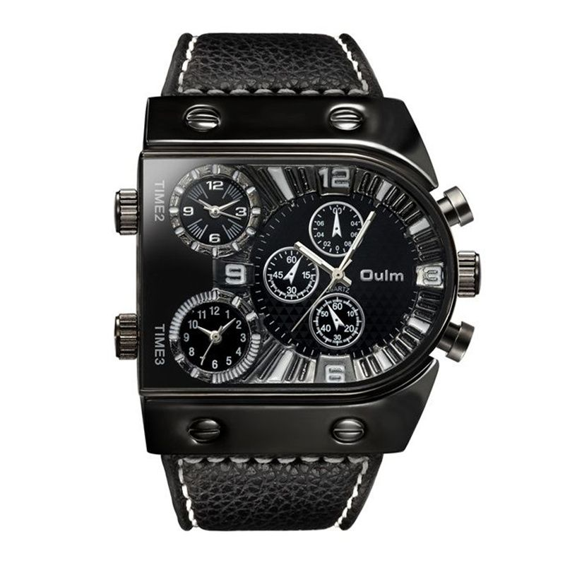 OULM Sport Montre Hommes Quartz Analogique Horloge 3 Fuseau horaire Sous-cadrans Design Grand case Tendance Mode Noir Poignet montres relogio