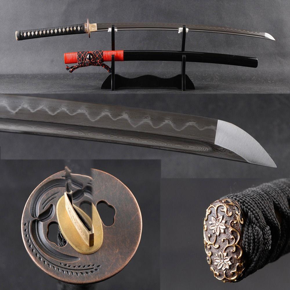 Sharp Japanese Samurai Katana Sword Folded Steel Clay Tempered Espada Full Tang Cutting Practice Long Sword Metal Home Decor