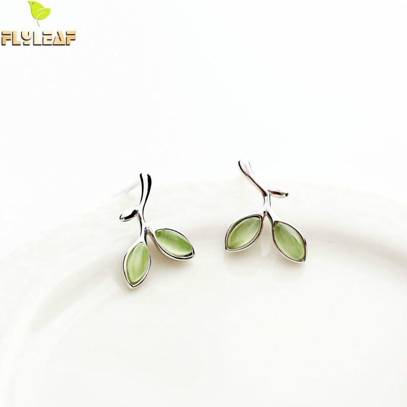 Flyleaf 100% 925 Sterling Argent Vert Opale Feuilles Bourgeons Boucles boucles d'oreilles pour femmes Prévenir L'allergie bijoux tendance