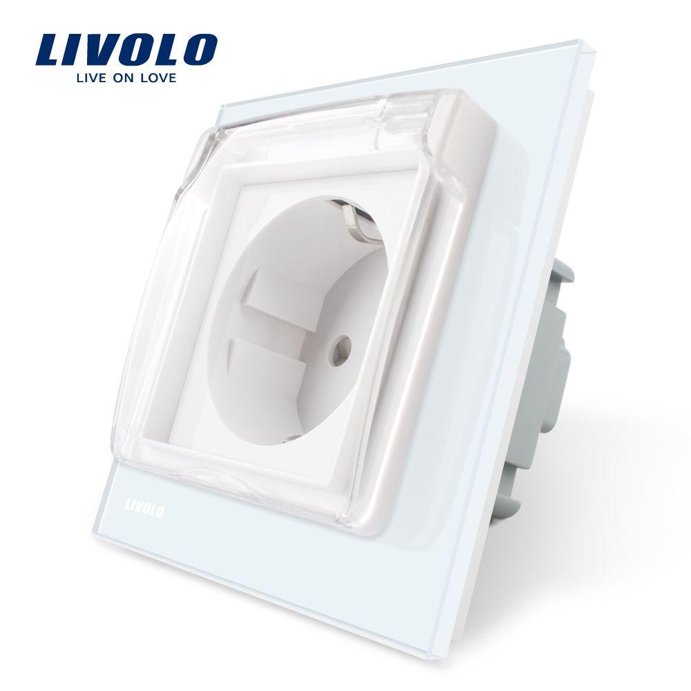 Prise de courant Standard Livolo EU, panneau en verre blanc, prise de courant murale AC 110 ~ 250V 16A avec couvercle étanche C7C1EUWF-11