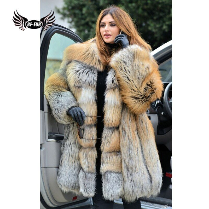 BFFUR Mode Parka Echt Natürliche Red Fox Pelz Mäntel 2018 Neue Frauen Jacke Echtem Leder Voller Pelt Plus Größe Winter palace Tops