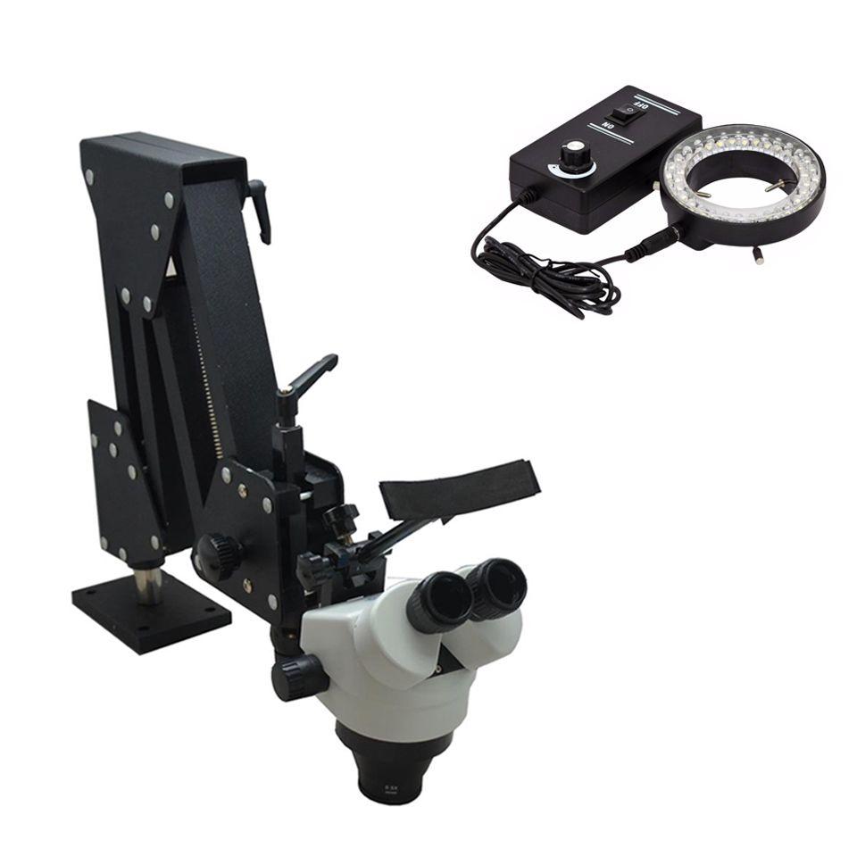 7X-45X Stereo Microscope Hard Aluminum Stand Stereo Microscope Jewelry And Dental Microscope For Jewelry Equipment Tools
