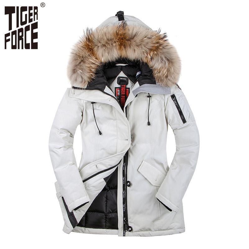 TIGER FORCE 2017 Women Winter Coat Parka Padded Coat Winter Jacket Women European Size Real Raccoon Fur Collar Free Shipping