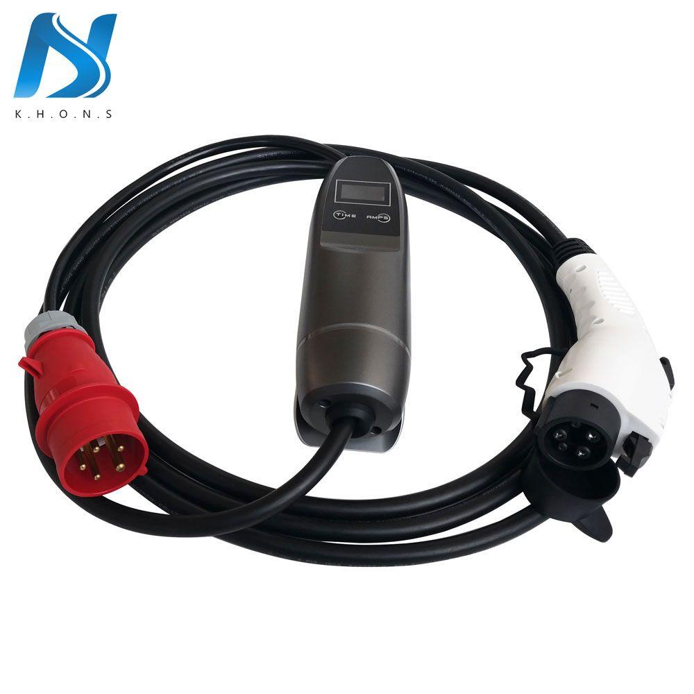 Khons SAE J1772 EVSE Elektrische Fahrzeug Auto EV Ladegerät Mit Rot CEE Stecker 16A Einstellbare 16ft Kabel EV Tragbare Lade stecker