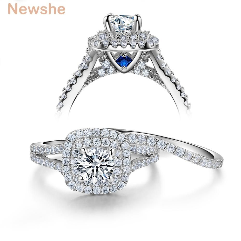 Newshe 2 Pcs Solid 925 Sterling Silver Women's Wedding Ring Sets Victorian Style Blue Side Stones Classic Jewelry For Women