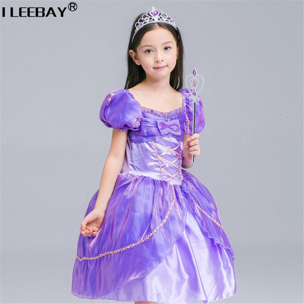 Лидер продаж платье принцессы Софии для девочки детская одежда принцессы Рапунцель Vestidos Infantil Мультфильм платье девушка костюм Детское бал...