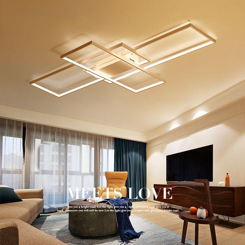 Modern Simple Square Aluminum LED Ceiling Lamp Creative Living Room Bedroom Reading Room Restaurant Light Lamp Ceiling Mounted