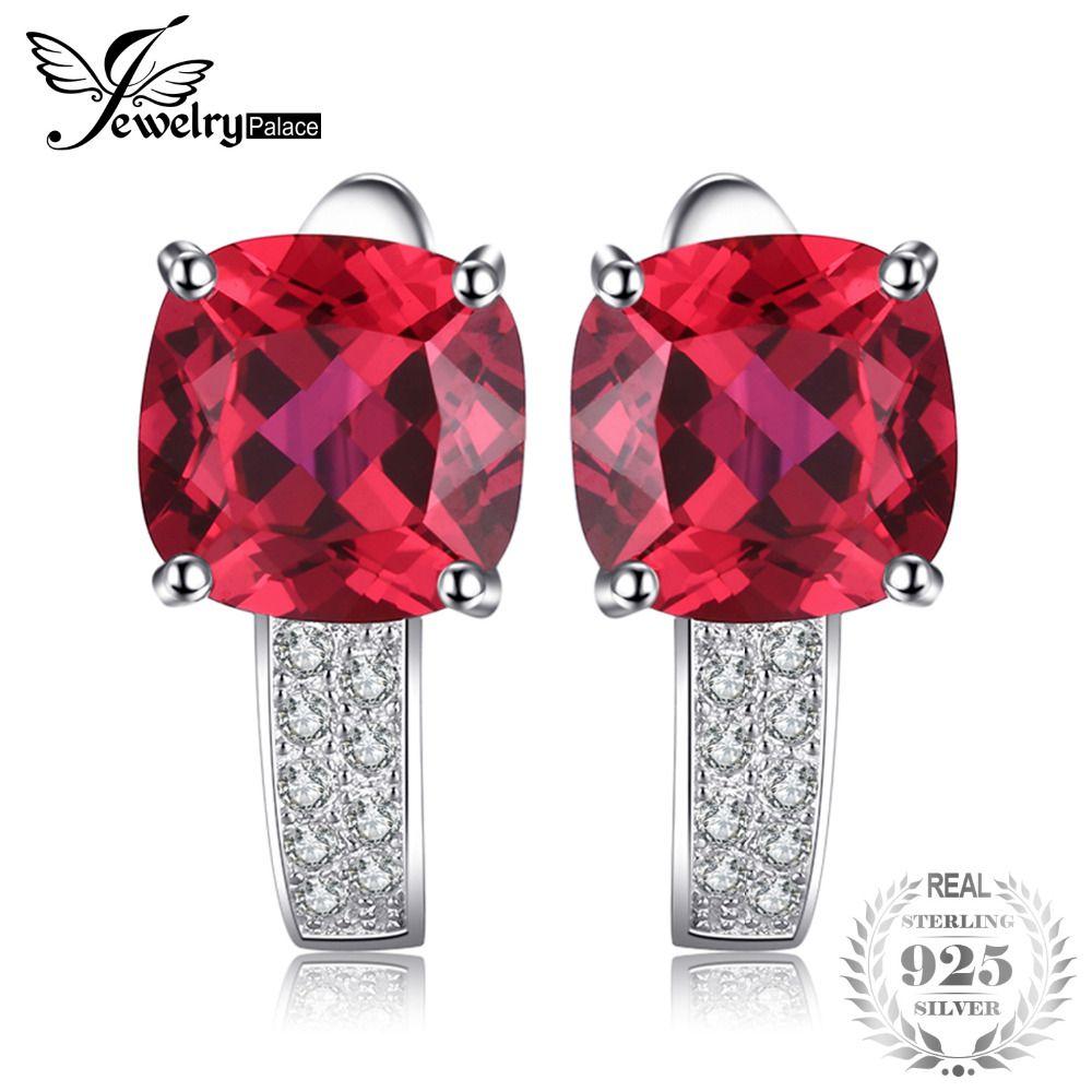 JewelryPalace Coussin 4.6ct Créé Rouge Ruby clip boucles d'oreilles 925 Sterling Argent Boucle D'oreille Bijoux pour cadeau De Mode pour les Femmes