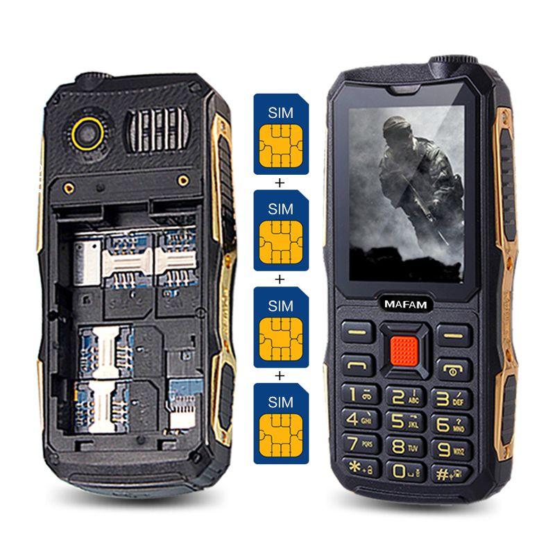 MAFAM M1 4 SIM Cards 4 Standby Mobile Phone Quad SIM Four SIM Cards Cell Mobile Phone Whatsapp FM DV Real 2800mAh Big Sound P168