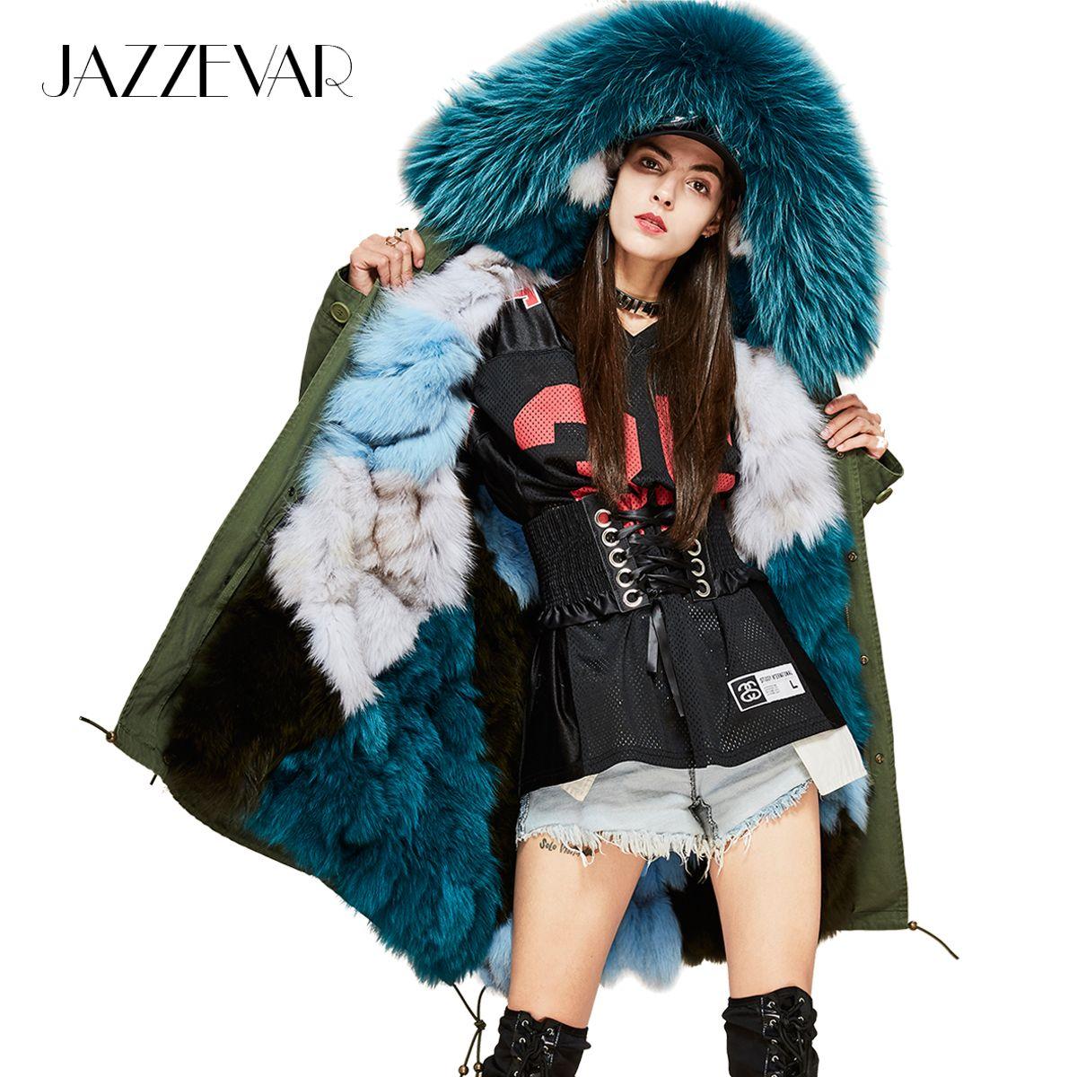 JAZZEVAR Neue Mode Frau Luxuriöse Echt Fuchs pelz futter Military Parka MIDI Große Waschbär pelz Mit Kapuze Mantel Outwear Winter Jacke