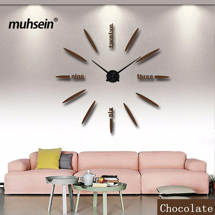 Muhsein 100% rétroaction Positive Horloge Murale Acrylique Métal Miroir 90x90 cm Personnalisé Numérique Montres Horloges chaude DIY Livraison gratuite